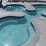 Custom shape hot tub located at Lake George Rv Park